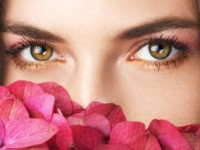 Close-up of woman's eyes and nose as she's smelling flowers.