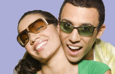 a0352cdcb Couple wearing tinted sunglasses - one of the many eye safety tips  recommended.