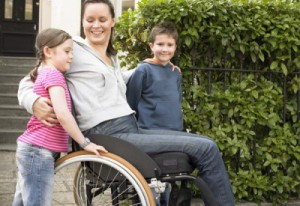 MS disabled woman with children