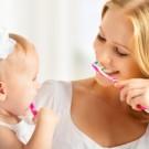 brushing children's teeth