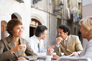 People discovering employee engagement, benefits and health benefits while having lunch.