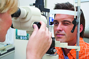 Patient getting a vision test