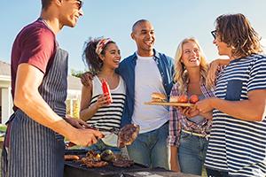 Friends enjoying a barbeque