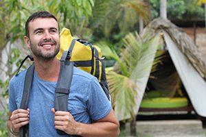 Man enjoying ecotourism in South America.