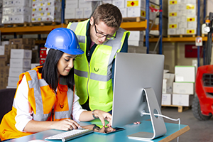 Business colleagues working with computer in warehouse.
